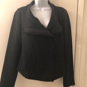 Vince dark navy blue woven blazer with zipper